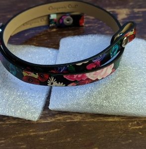 Origami Owl floral leather wrap bracelet